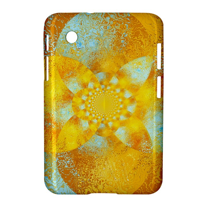 Gold Blue Abstract Blossom Samsung Galaxy Tab 2 (7 ) P3100 Hardshell Case