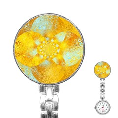 Gold Blue Abstract Blossom Stainless Steel Nurses Watch