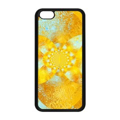 Gold Blue Abstract Blossom Apple iPhone 5C Seamless Case (Black)