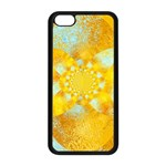 Gold Blue Abstract Blossom Apple iPhone 5C Seamless Case (Black) Front