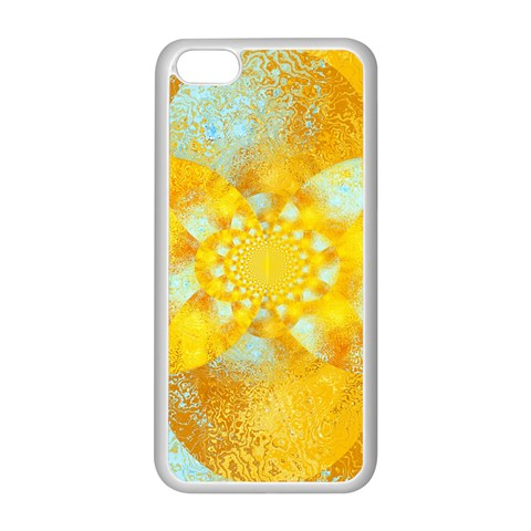 Gold Blue Abstract Blossom Apple iPhone 5C Seamless Case (White)