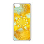 Gold Blue Abstract Blossom Apple iPhone 5C Seamless Case (White) Front