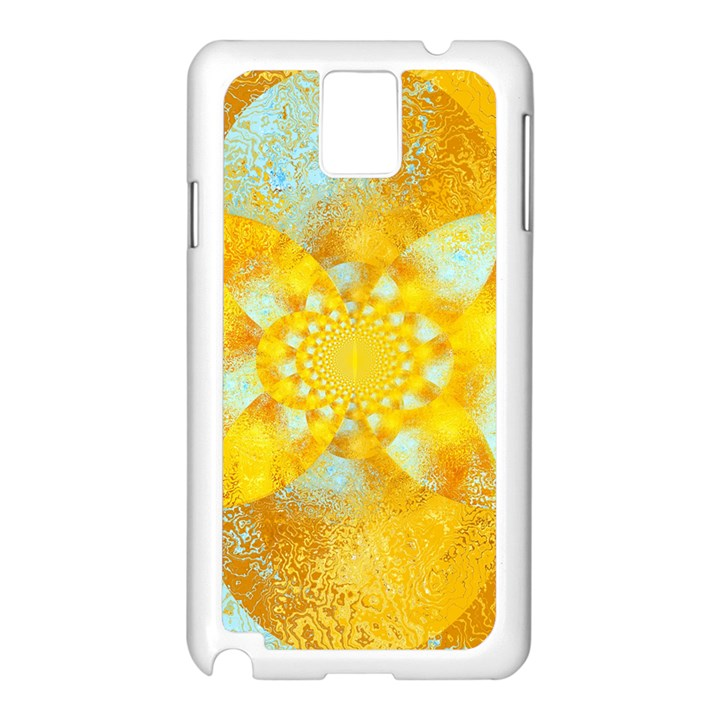 Gold Blue Abstract Blossom Samsung Galaxy Note 3 N9005 Case (White)