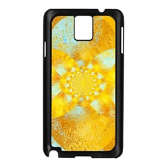 Gold Blue Abstract Blossom Samsung Galaxy Note 3 N9005 Case (black)