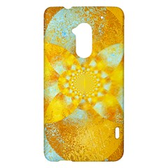 Gold Blue Abstract Blossom HTC One Max (T6) Hardshell Case