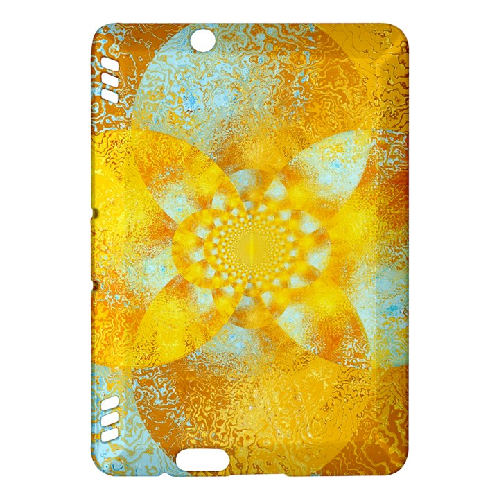 Gold Blue Abstract Blossom Kindle Fire HDX Hardshell Case