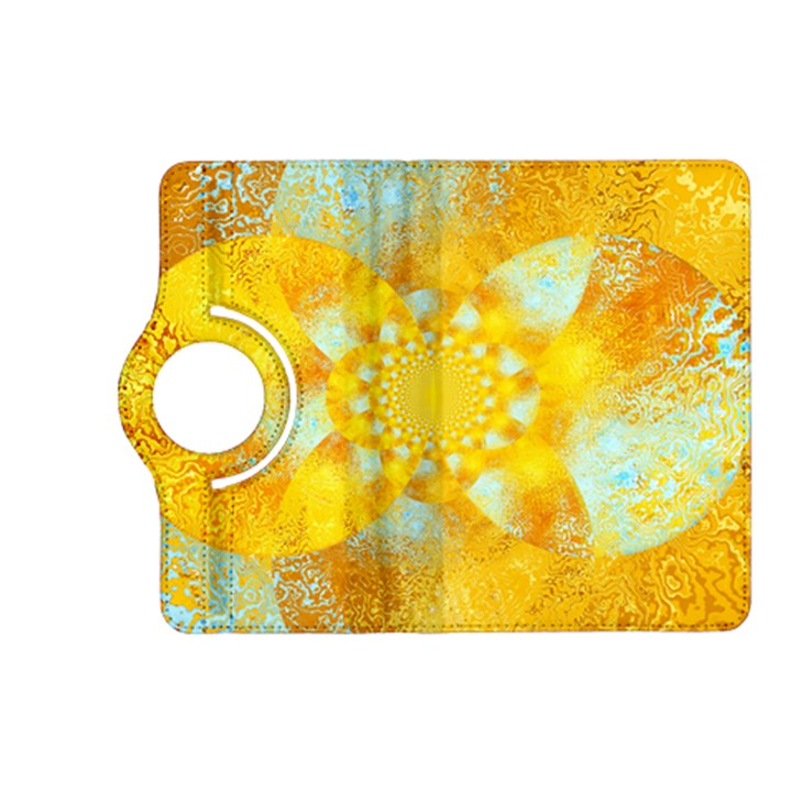 Gold Blue Abstract Blossom Kindle Fire HD (2013) Flip 360 Case