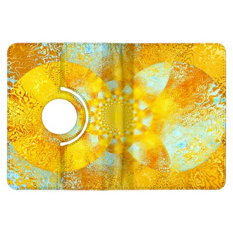 Gold Blue Abstract Blossom Kindle Fire HDX Flip 360 Case