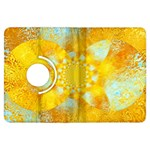 Gold Blue Abstract Blossom Kindle Fire HDX Flip 360 Case Front