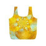 Gold Blue Abstract Blossom Full Print Recycle Bags (S)  Back