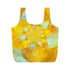 Gold Blue Abstract Blossom Full Print Recycle Bags (M)