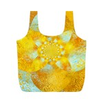 Gold Blue Abstract Blossom Full Print Recycle Bags (M)  Front