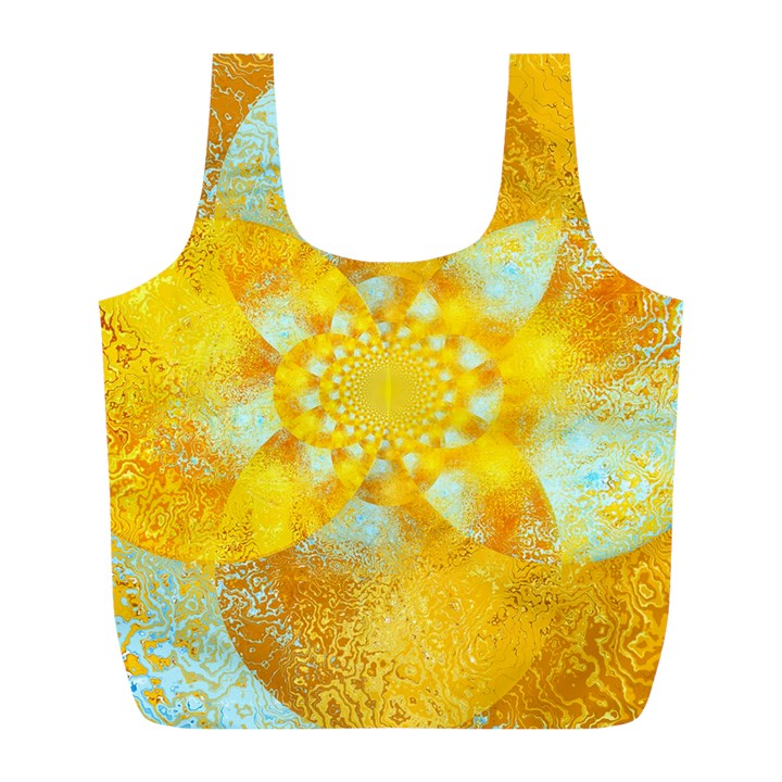 Gold Blue Abstract Blossom Full Print Recycle Bags (L)