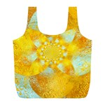 Gold Blue Abstract Blossom Full Print Recycle Bags (L)  Back