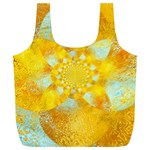 Gold Blue Abstract Blossom Full Print Recycle Bags (L)  Front