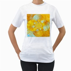 Gold Blue Abstract Blossom Women s T Shirt (white)