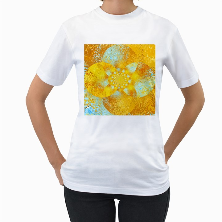 Gold Blue Abstract Blossom Women s T-Shirt (White)