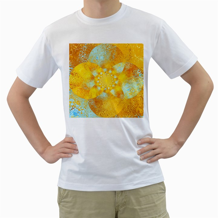 Gold Blue Abstract Blossom Men s T-Shirt (White)