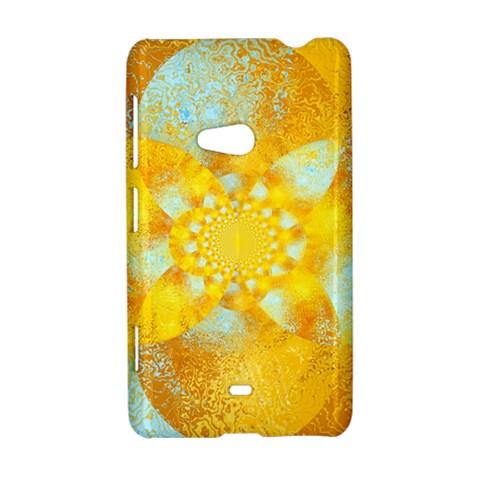 Gold Blue Abstract Blossom Nokia Lumia 625