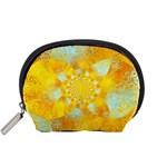 Gold Blue Abstract Blossom Accessory Pouches (Small)  Front
