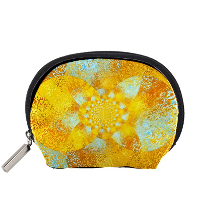 Gold Blue Abstract Blossom Accessory Pouches (Small)