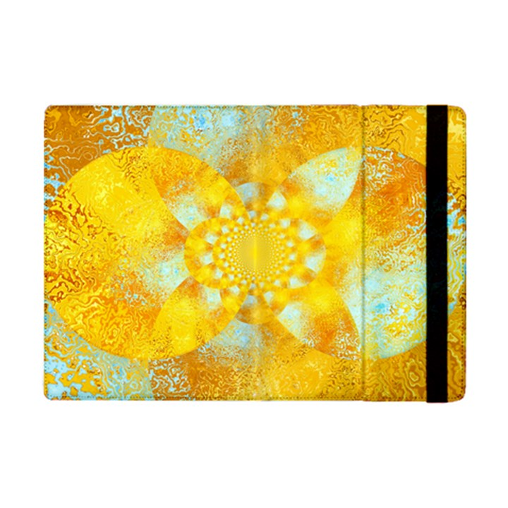 Gold Blue Abstract Blossom iPad Mini 2 Flip Cases