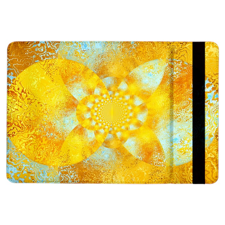 Gold Blue Abstract Blossom iPad Air Flip