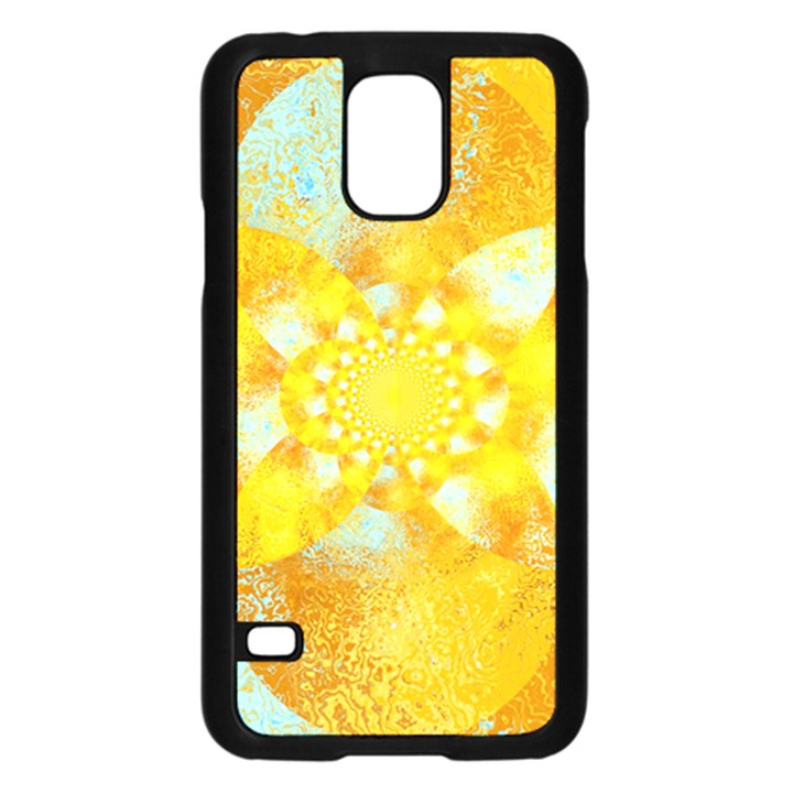 Gold Blue Abstract Blossom Samsung Galaxy S5 Case (Black)