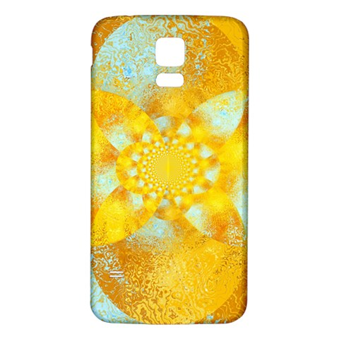 Gold Blue Abstract Blossom Samsung Galaxy S5 Back Case (White)