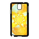 Gold Blue Abstract Blossom Samsung Galaxy Note 3 Neo Hardshell Case (Black) Front