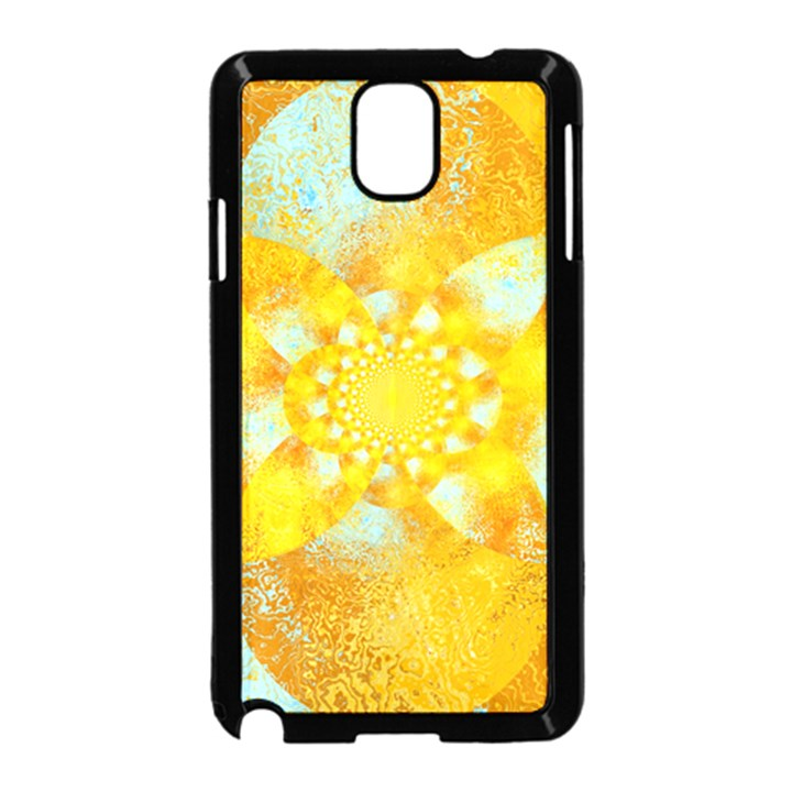 Gold Blue Abstract Blossom Samsung Galaxy Note 3 Neo Hardshell Case (Black)