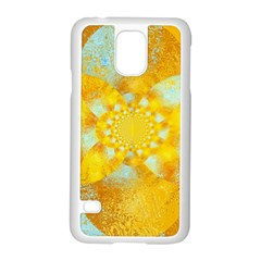 Gold Blue Abstract Blossom Samsung Galaxy S5 Case (White)