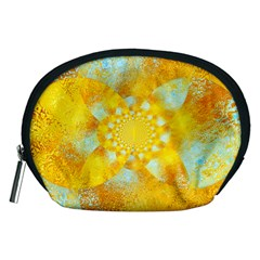 Gold Blue Abstract Blossom Accessory Pouches (Medium)