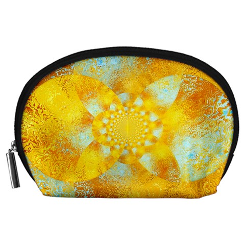 Gold Blue Abstract Blossom Accessory Pouches (Large)
