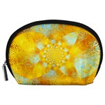 Gold Blue Abstract Blossom Accessory Pouches (Large)  Front