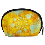 Gold Blue Abstract Blossom Accessory Pouches (Large)  Back