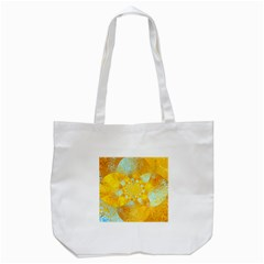 Gold Blue Abstract Blossom Tote Bag (White)