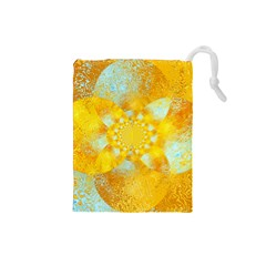 Gold Blue Abstract Blossom Drawstring Pouches (Small)