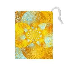 Gold Blue Abstract Blossom Drawstring Pouches (Large)