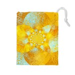 Gold Blue Abstract Blossom Drawstring Pouches (Large)  Front