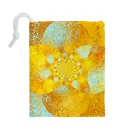 Gold Blue Abstract Blossom Drawstring Pouches (Large)  Back