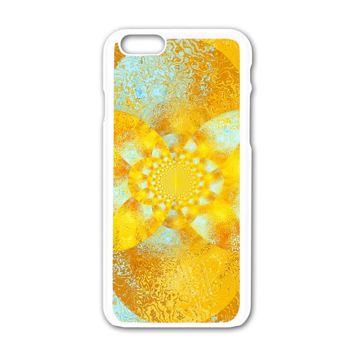 Gold Blue Abstract Blossom Apple iPhone 6/6S White Enamel Case