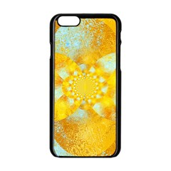 Gold Blue Abstract Blossom Apple iPhone 6/6S Black Enamel Case