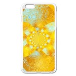 Gold Blue Abstract Blossom Apple iPhone 6 Plus/6S Plus Enamel White Case Front