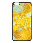 Gold Blue Abstract Blossom Apple iPhone 6 Plus/6S Plus Black Enamel Case Front