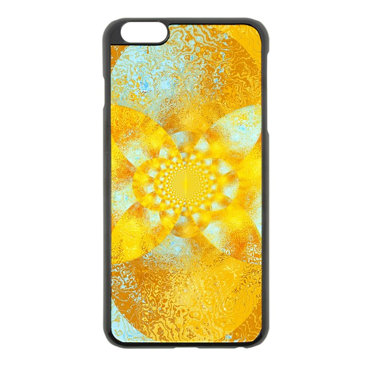 Gold Blue Abstract Blossom Apple iPhone 6 Plus/6S Plus Black Enamel Case