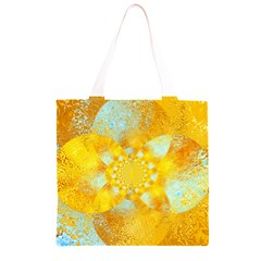 Gold Blue Abstract Blossom Grocery Light Tote Bag