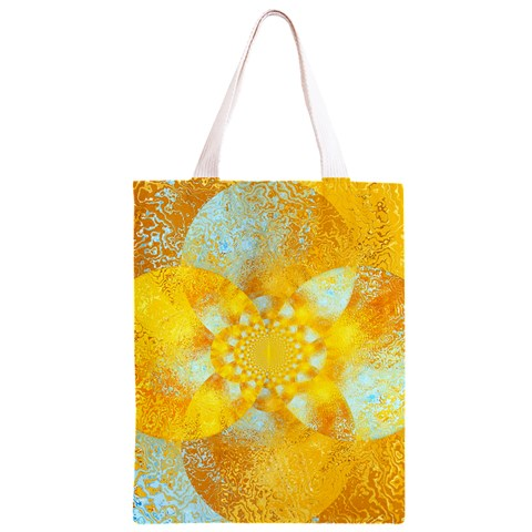 Gold Blue Abstract Blossom Classic Light Tote Bag