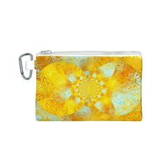 Gold Blue Abstract Blossom Canvas Cosmetic Bag (s)