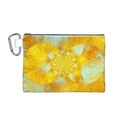 Gold Blue Abstract Blossom Canvas Cosmetic Bag (M)